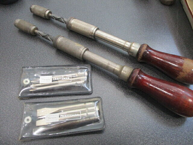 Vintage Millers Falls Tool Co. NO. 61 Push Type Automatic Screwdrivers w/ bits