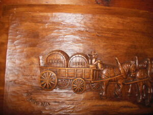 Wooden plaques for den or bar, and cowboy hats.