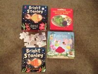 3 Books (Usbourne: Touchy Feely Fairies & Steam Train Jigsaw Book, Bright Stanley book & Jigsaw)