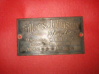 2 12 Hp Fuller Johnson Hit Miss Gas Engine Tag