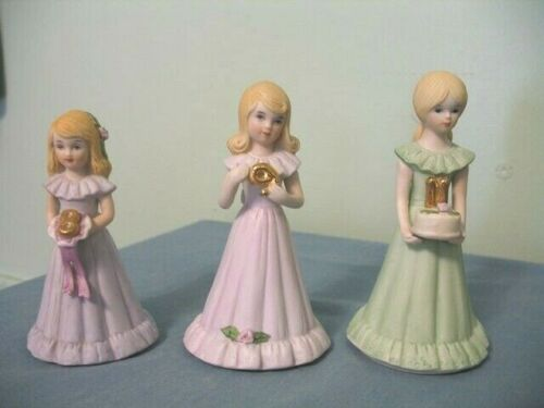 (3)-VINTAGE ENESCO GROWING UP BIRTHDAY GIRL FIGURINES-AGES 8, 9 & 11-BLOND HAIR!