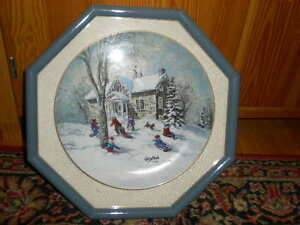 Collector Plate and Frame keirstead Winter Scene