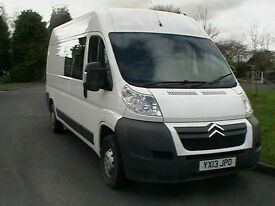 2013 13 REG CITROEN RELAY 2.2HDi 130 35 L3H2 CREW VAN 6 SEATS IN WHITE LOW MILES