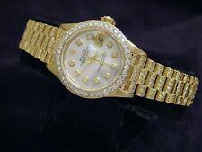 Ladies Rolex Datejust 18K Gold President Watch Full Diamond Band Bezel MOP Dial