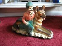 LARGE VINTAGE FIGURE BOY WITH GERMAN SHEPHERD ALSATIAN DOG