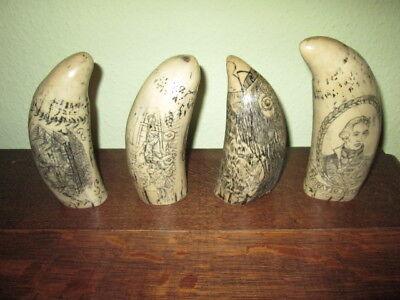 Walzahn 4 Stück 15 cm Walfänger Motive mit historischen Abbildungen neu