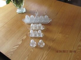 Cruet sets x 4. Crystal and glass