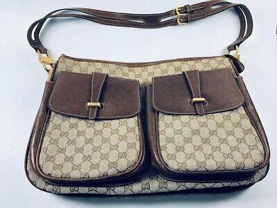 RARE Vintage Gucci GG Beige Fabric Brown Leather Large Messenger Bag Brief Case
