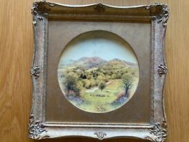 Ex Royal Worcester Artist. Handpainted. Framed fine bone china plate