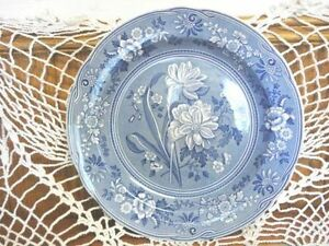 Vintage Spode Blue Room Dinner Plates, Set of 4 Assorted Motifs
