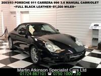 2003 53 Porsche 911 3.6 996 Cabriolet Manual 320BHP~Black Leather~