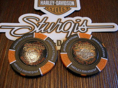 "Black & Orange ""Skull"" Poker Chip from Sturgis Harley Davidson Sturgis , SD"