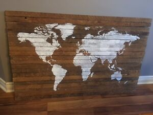 Rustic Wall Art, World Map on Tobacco Slats