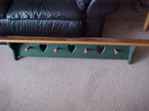 Country Wood Shelf and Coat Hanger