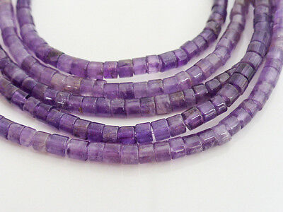 Natural Purple Amethyst Heishi Heishe Beads 4mmx3mm - 15.5 Inch Strand Gemstones