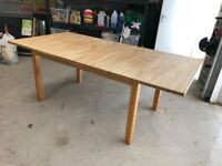 Wooden beech block style extending dining table