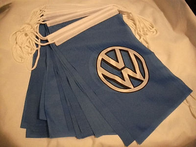 """VW BUNTING BLUE VOLKSWAGEN VOLKSWAGON JAMBOREE VANFEST 20 FLAGS X 12"""" X  8"""" BNIP"""