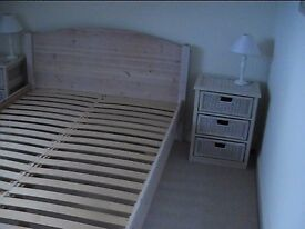 Double bed, 2 bedside tables, double wardrobe