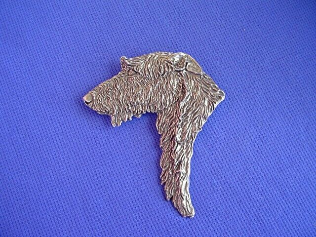 Scottish Deerhound Head study Pin #16H Pewter Dog Jewelry by Cindy A. Conter IW