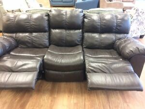 BROWN LEATHER RECLINING SOFA ONLY