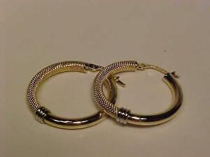 #1014-18K (.750) HALLMARKED Y/W/Gold yellow & white earrings fashioned in Italy-stunning-FREE SHIPPING-CANADA ONLY