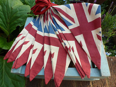 Union Jack Bunting Queens Birthday Party Vintage Fabric Retro Flags Banner UK 5M