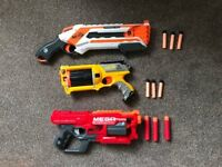 3 Nerf guns - Roughcut, Mega Cyclone Blaster, N-Strike Maverick plus 9 bullets