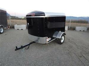 NEW BLACK 4x6 ROUND TOP ENCLOSED CARGO TRAILER