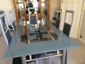 Glass Dining Table and 6 Dining Chairs