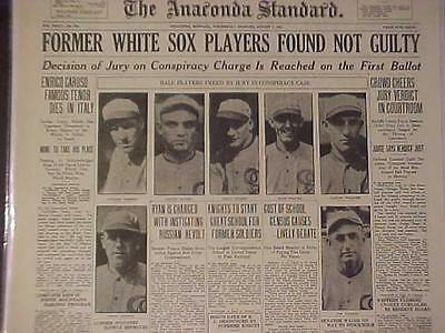 VINTAGE NEWSPAPER HEADLINE~CRIME CHICAGO WHITE SOX BASEBALL PLAYERS NOT GUILTY~