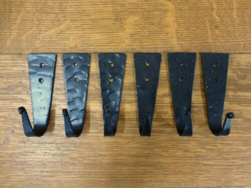 """6 BLACK WROUGHT IRON WALL HOOKS HANGERS 4"""" RUSTIC ANTIQUE STYLE barn hardware"""