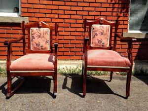 Paire de Fauteuils Antiques Eastlake Impeccables ROSES!