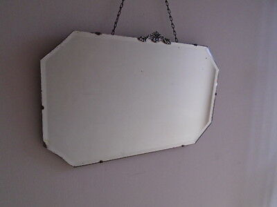 30s ART DECO VINTAGE LARGE FRAMELESS BEVELLED EDGE WALL MIRROR WITH MOTIF