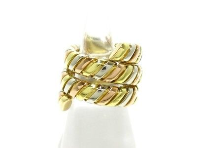 Auth BVLGARI Tubogas Snake 18K Tricolor Ring US #5