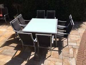 OUTDOOR FURNITURE SETTING - LARGE SQUARE TABLE & 9 CHAIRS Campbell North Canberra Preview