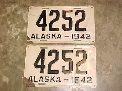 SUPER NICE PAIR of 1942 Alaska License Plates Tag AK 4252 ORIGINAL