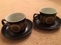 2x Teacup and Saucer Denby Arabesque China Crockery Discontinued Brown Pattern
