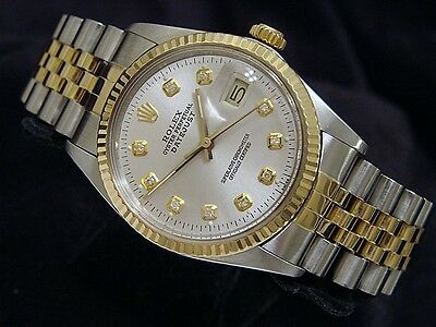 Mens Rolex Datejust 18K Yellow Gold & Steel Watch Silver Diamond Dial 16013