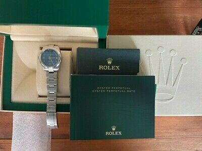 Rolex ♛ Oyster 18k, Stainless Steel, Blue Face Ladies Watch w/ Papers & Box
