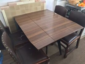 Vintage drop leaf table & 4 solid wood/leather chairs