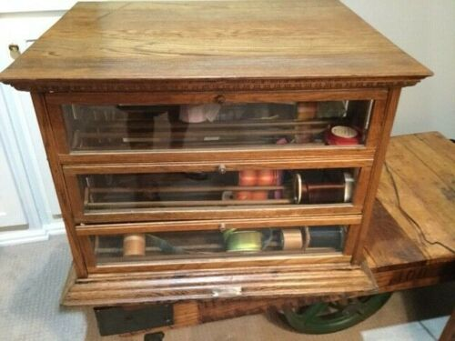 AN Russell Antique Oak Ribbon Cabinet General Store Display  Tilt Outs & Drawers