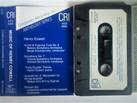 CRI ANTHOLOGY SERIES - MUSIC OF HENRY COWELL PRERECORDED CASSETTE TAPES. ACS 6005. 1985. Very rare.