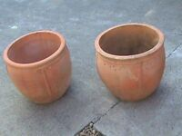 PAIR LARGE PLANT POTS