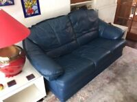 German Made Blue Soft Leather Three Seater Leather Sofa With Two Electric Recliner Chairs