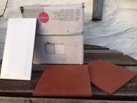 White ceramic brick wall tiles and square quarry floor tiles