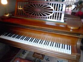 BECHSTEIN mahogany grand piano. In the Sheraton style; gate legged, ivory keyed, 7 octave