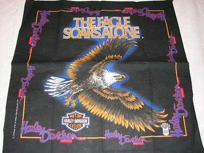 VINTAGE HARLEY DAVIDSON THE EAGLE SOARS ALONE BANDANA DU RAG HAT NEW