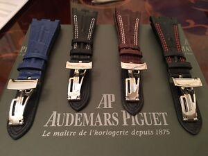 BlackBrownBlue Leather Strap + Clasp for Audemars Piguet Royal Oak Offshore