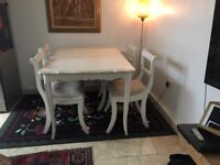 Laura Ashley chick dining table with 4 chairs.