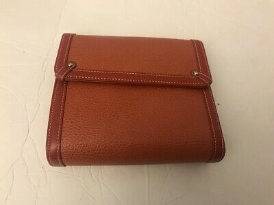 Franklin Covey Pebbled Leather Open Snap Binder 6 Rings Brown 7.5 X 6